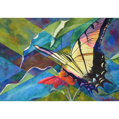Painting of a tiger swallowtail butterfly on an orange flower as it might be seen through a stained-glass window.