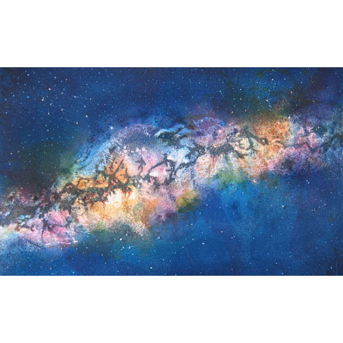 Painting of the Milky Way galaxy with colorful clouds and imaginary creatures in the dark spaces on a dark blue, starry background.
