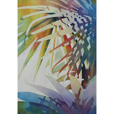 Colorful painting showing shadow patterns on fan palms and other leaves.