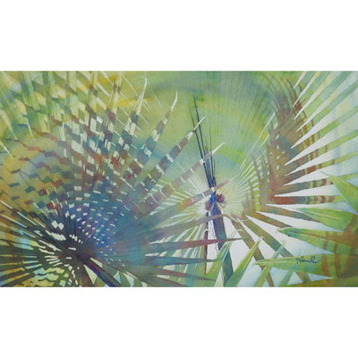 Painting of colorful fan palms with circular swirls showing shadow patterns.