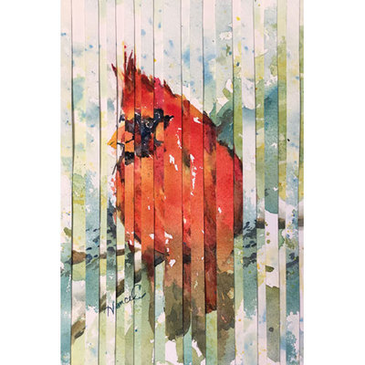 Painting collage of a red cardinal on a branch with an impressionistic green background.